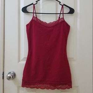EXPRESS Red Adjustable Camisole with Lace Trim EUC